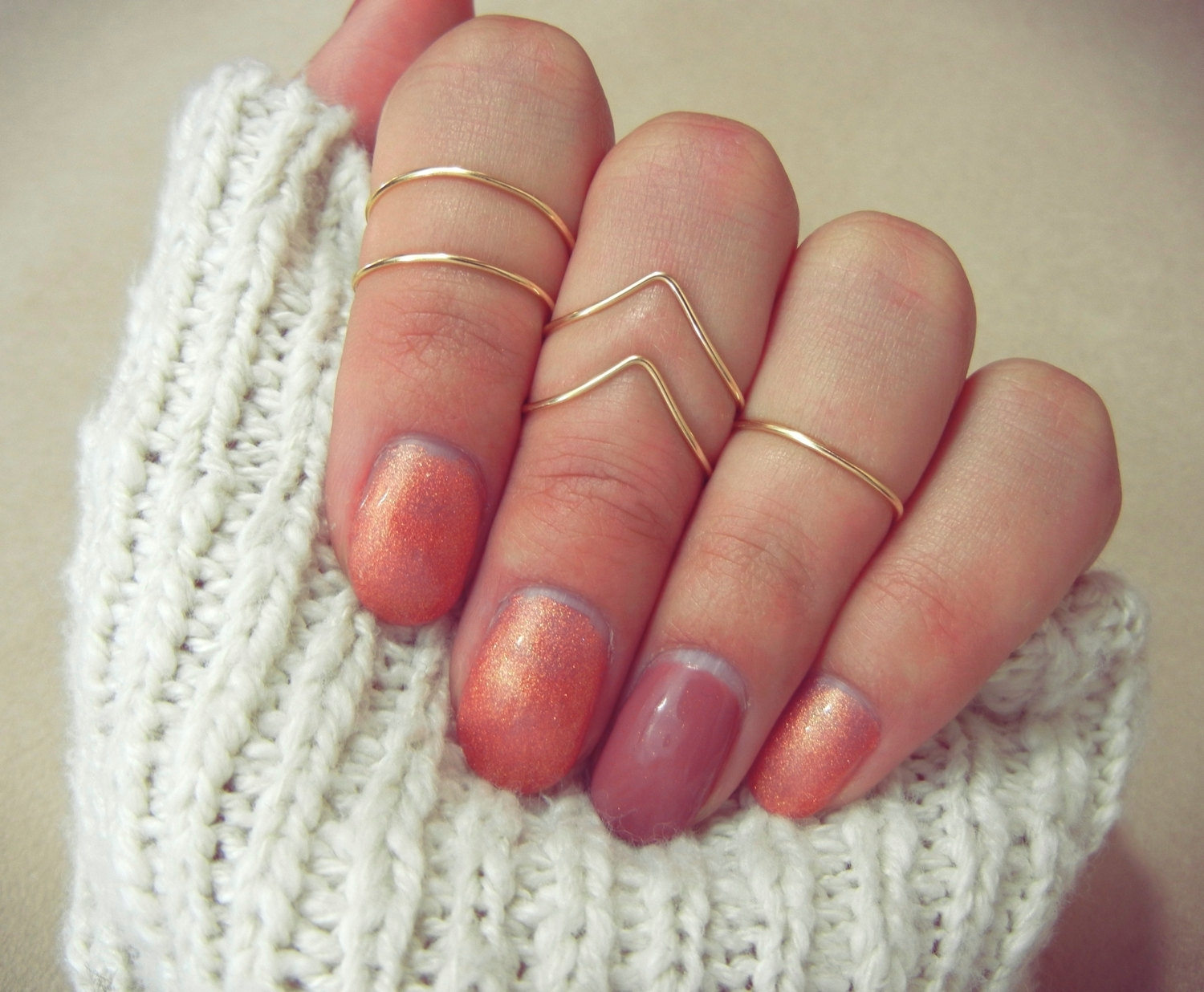 Gold Knuckle Rings, Adjustable Chevron Ring Set, Stackable Rings For 2017 Chevron Knuckle Rings (View 9 of 15)