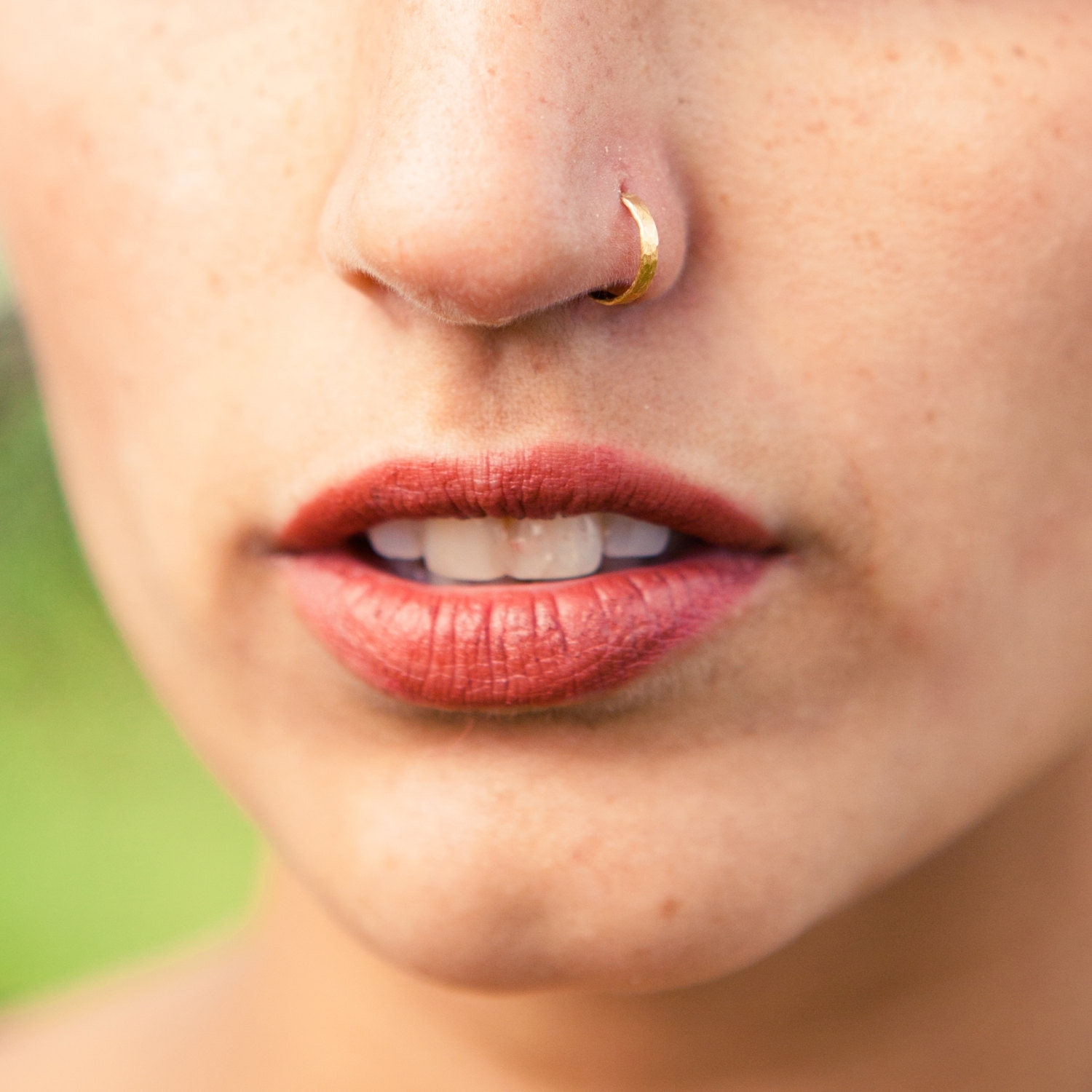 Gold Nose Ring. Indian Nose Ring. Gold Nose Hoop (View 5 of 15)