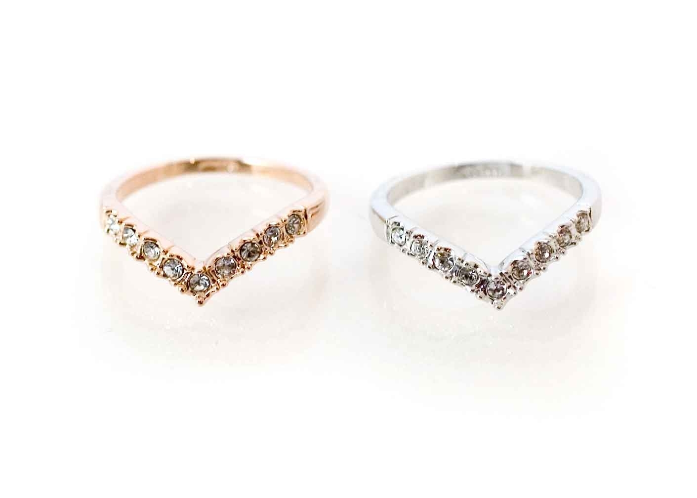 Gold Or Silver Rhinestone Studded Chevron Ring Ships From Us On Luulla In Most Current Chevron Rings (View 3 of 15)