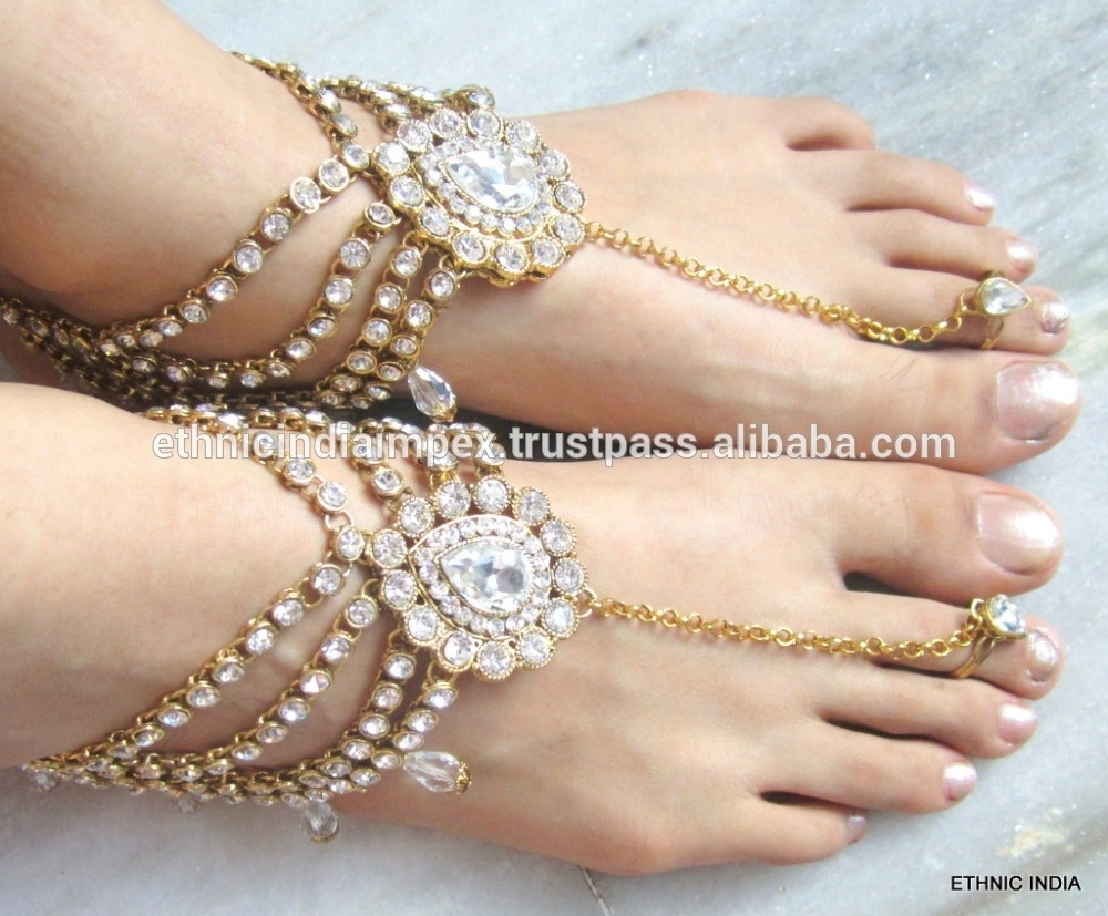 Gold Tone Crystal Payal Anklets Pair With Toe Ring Barefoot Sandal Within Latest Crystal Toe Rings (View 14 of 15)