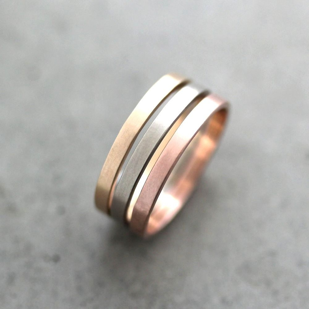Gold Wedding Band Stacking Rings, Mixed Metal 2Mm Recycled 14K In Latest Three Stackable Chevron Diamond Rings (View 9 of 15)