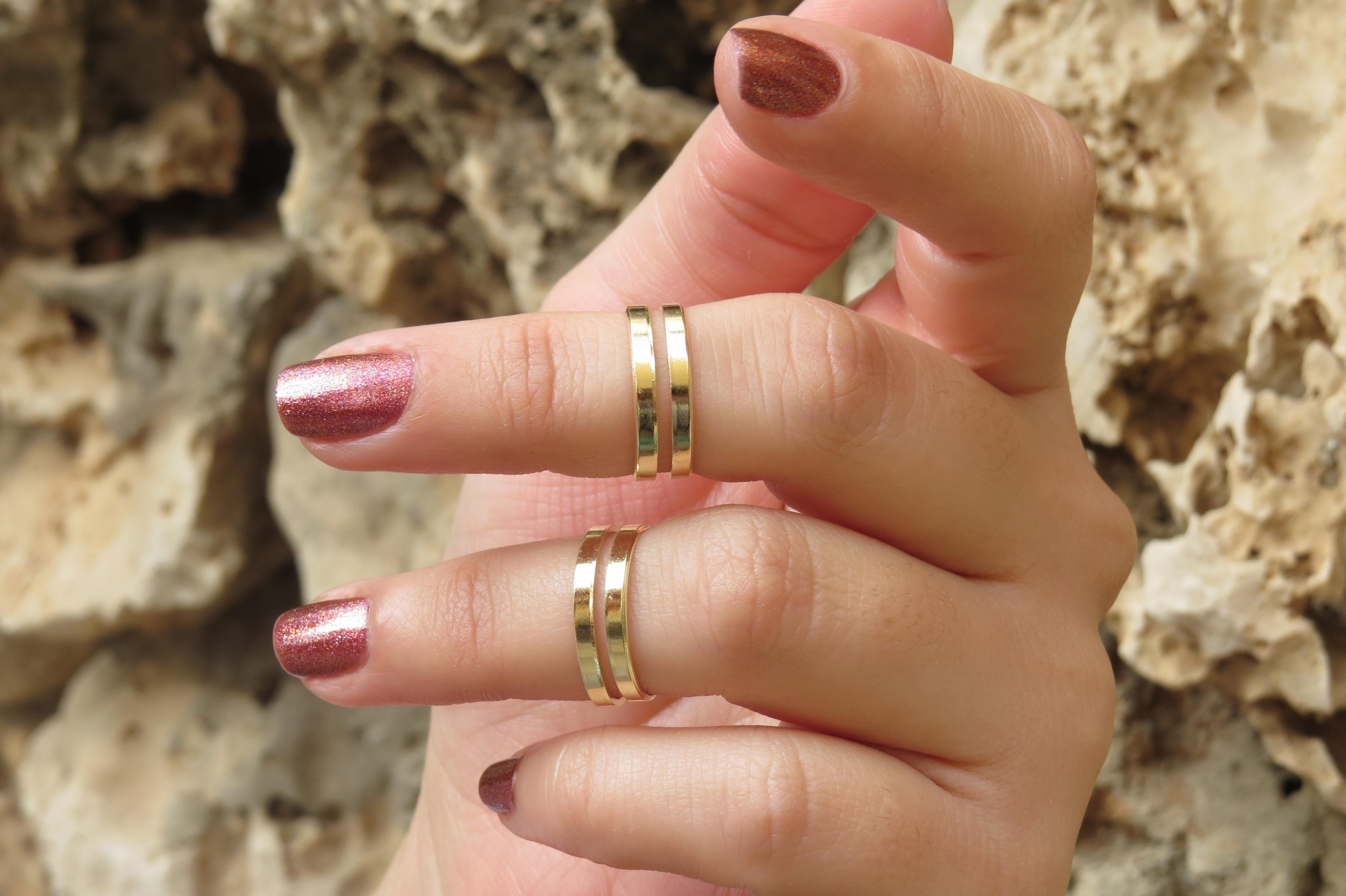 Goldfilled Stacking Ring, Gold Ring, Knuckle Ring, Gold Midi Ring With Regard To Latest Chevron Knuckle Rings Sets (View 10 of 15)