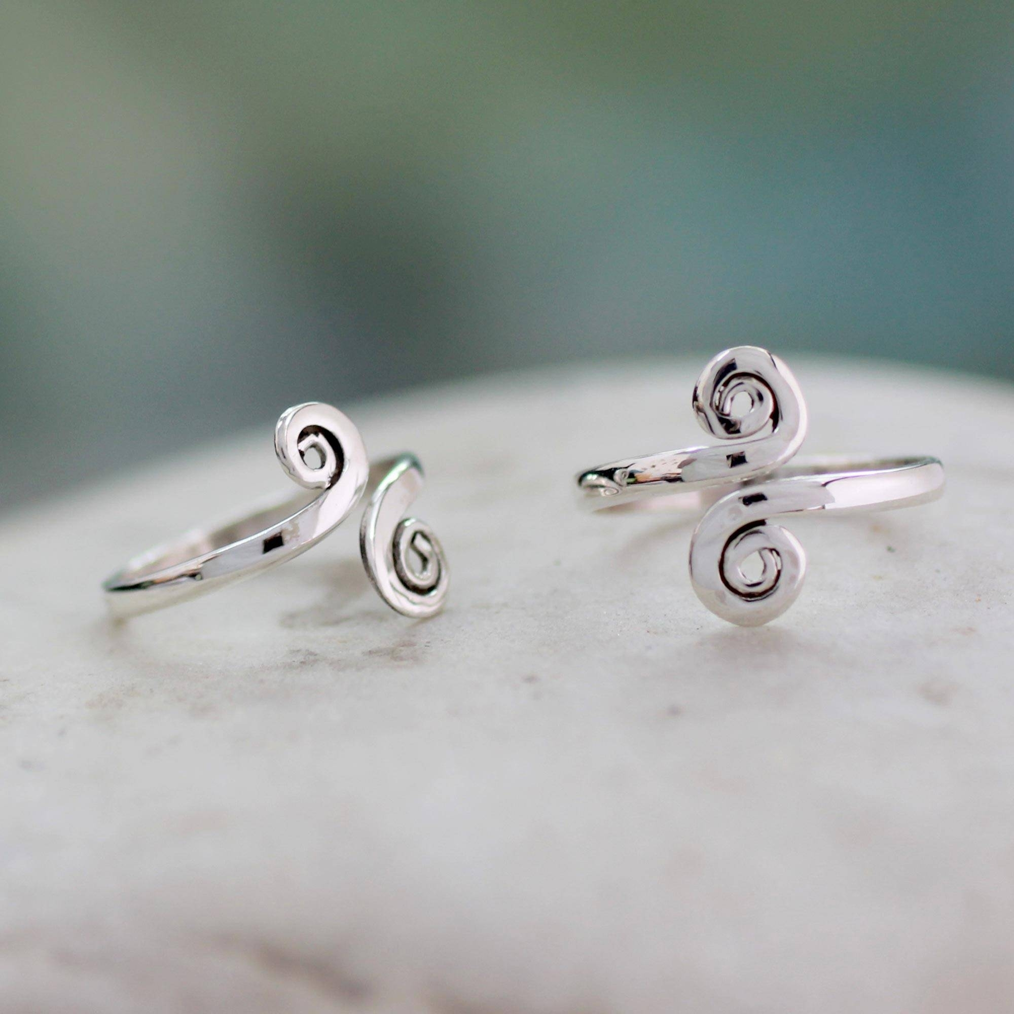 Handcrafted Sterling Silver Toe Rings From India (Pair Intended For Latest Indian Toe Rings (Gallery 8 of 15)