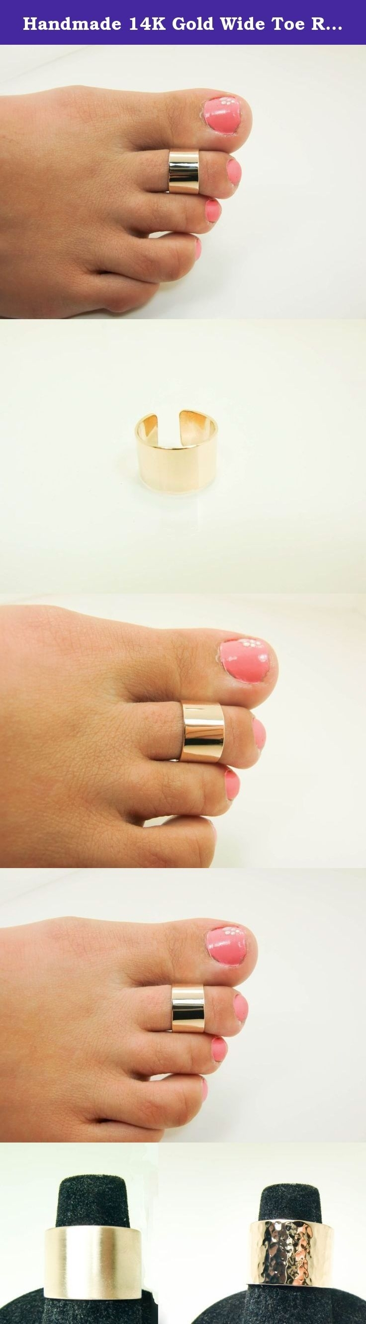 Handmade 14k Gold Wide Toe Ring – Real 14 Karat Yellow Gold Wide In Newest 14k Gold Toe Rings (View 11 of 25)