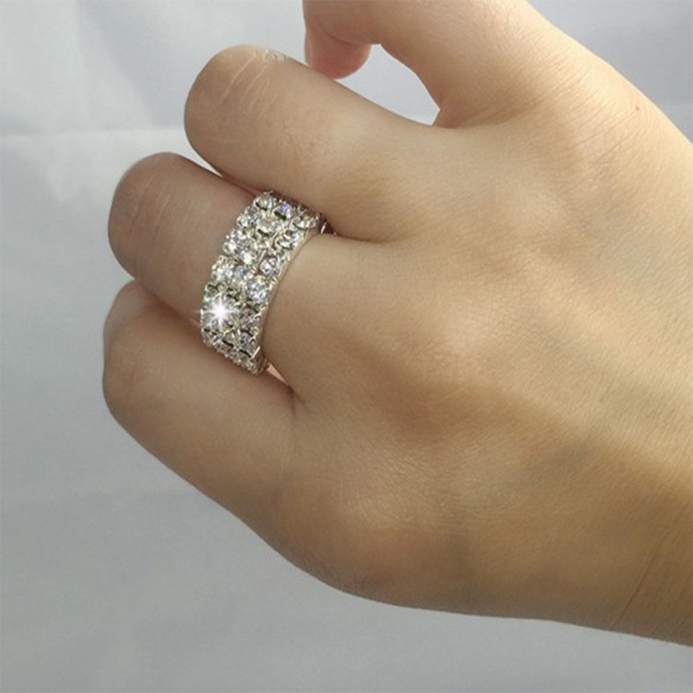 High Quality Elastic Finger Ring Tone 3 Row Crystal Rhinestone Toe Within Most Recent Elastic Toe Rings (View 12 of 15)