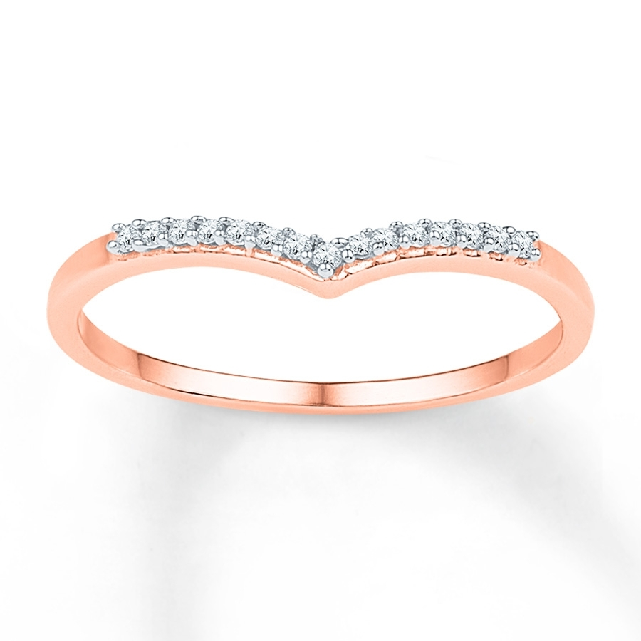Jared – Diamond Chevron Ring 1/15 Ct Tw Round Cut 10K Rose Gold In Newest Diamond Chevron Rings (Gallery 3 of 15)