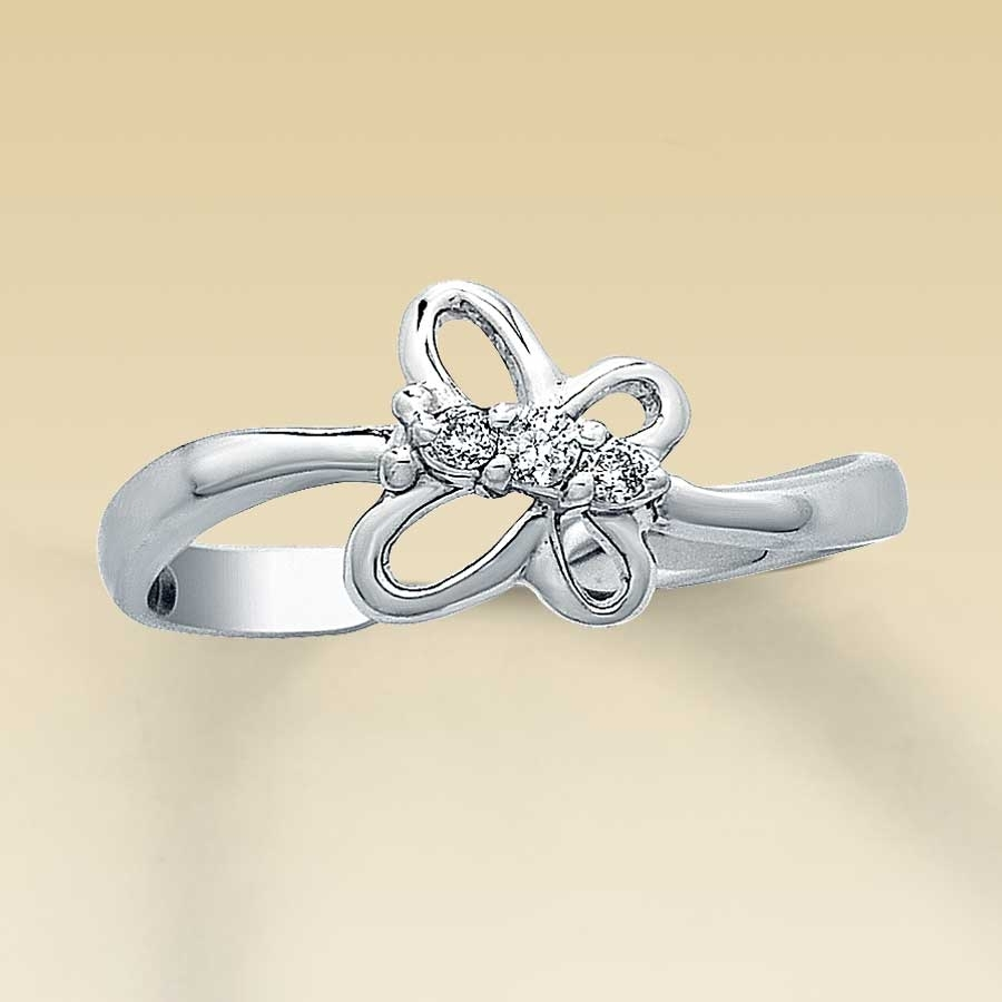 Kay – Clearance! 10K White Gold Diamond Butterfly Toe Ring Throughout 2018 Gold Diamond Toe Rings (Gallery 2 of 15)