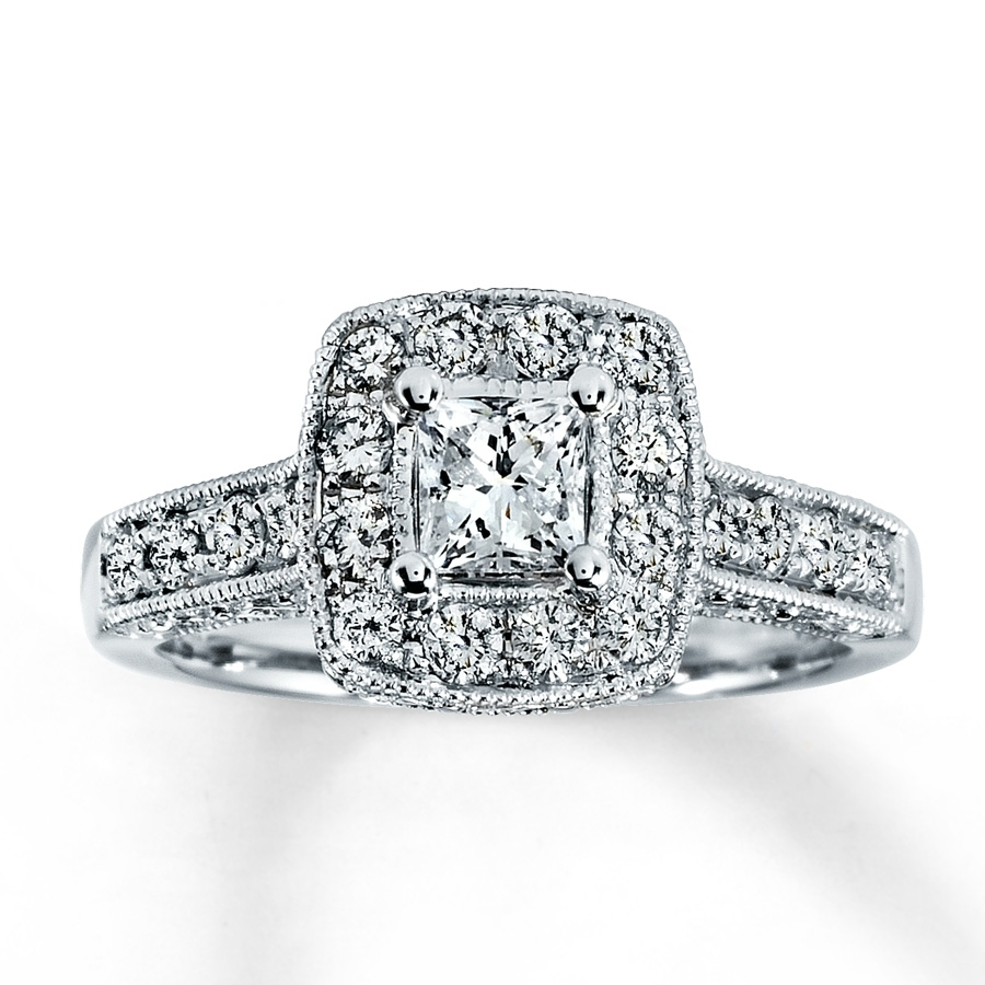 Kay – Diamond Engagement Ring 1 Ct Tw Princess Cut 14K White Gold Within Most Recent Kay Jewellers Toe Rings (View 6 of 15)