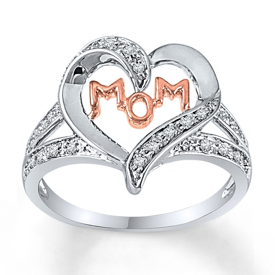 Kay – Mom Heart Ring 1/10 Ct Tw Diamonds Sterling Silver/10k Gold In Most Popular Chevron Mothers Rings (View 7 of 15)