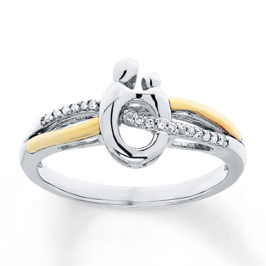 Kay – Mother & Child Ring 1/20 Cttw Diamonds Sterling Silver/10K Gold Throughout 2017 Chevron Mothers Rings (View 6 of 15)