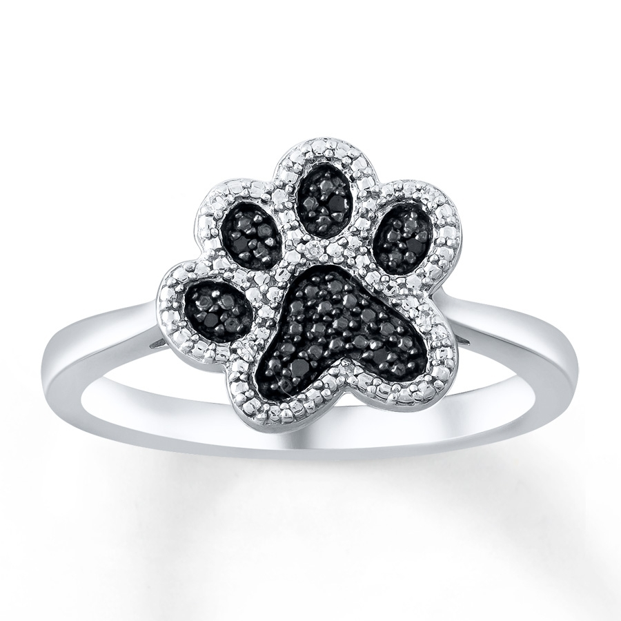 Kay – Paw Print Ring Black/white Diamonds Sterling Silver Pertaining To Most Current Kay Jewellers Toe Rings (View 12 of 15)