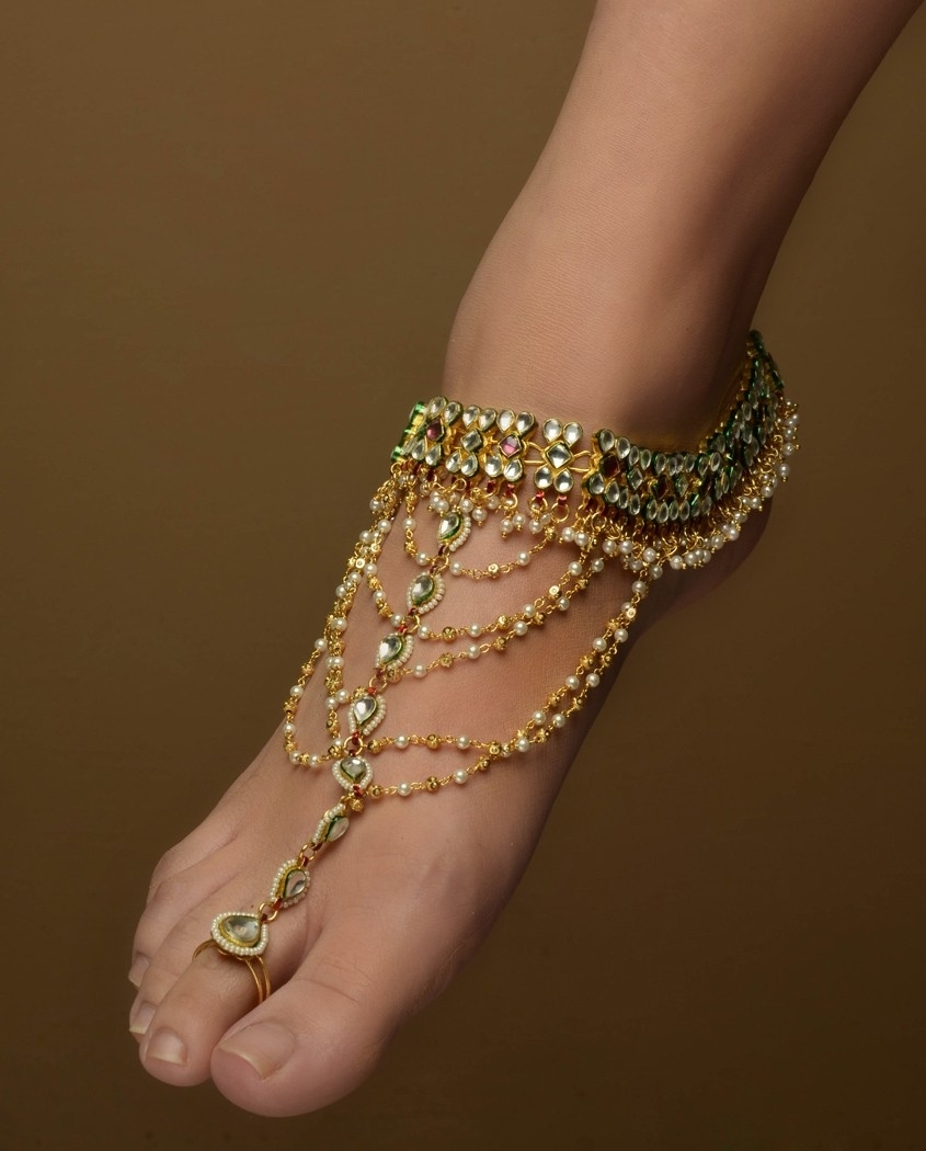 Kundan Anklets With Extended Toe Ringbansri Joaillerie Regarding Recent Ankle Bracelet Toe Rings (Gallery 22 of 25)