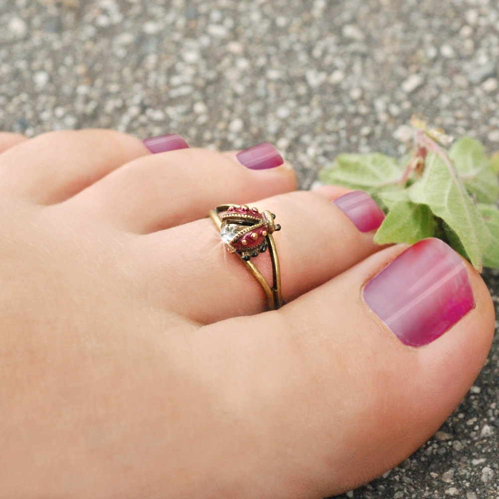 Ladybug Toe Ring Ladybug Ring Toe Jewelry Foot Jewelry Pertaining To Most Up To Date Ladybug Toe Rings (View 12 of 15)