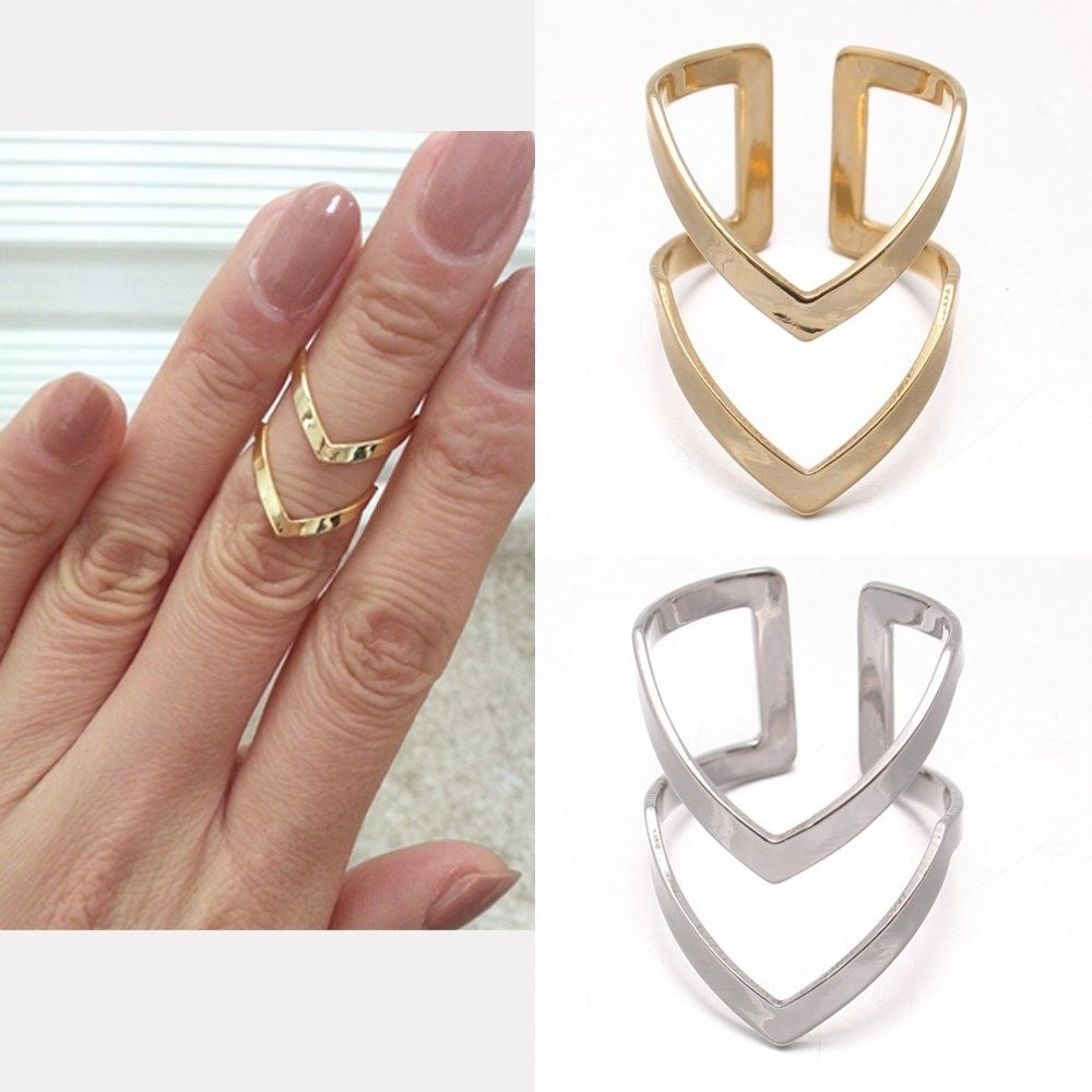 Lines V Chevron Over Midi Tip Finger Above The Knuckle Open Band Intended For Newest Chevron Finger Rings (View 3 of 15)