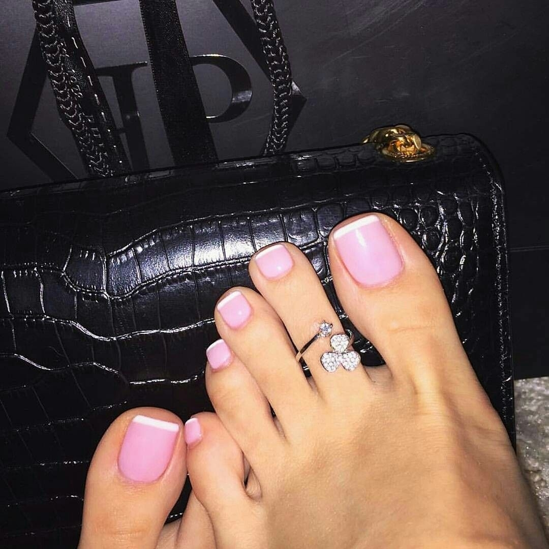 Love This Classy, Pretty, Simple French Pedicure In Pink With A Regarding 2017 Pretty Toe Rings (View 12 of 15)