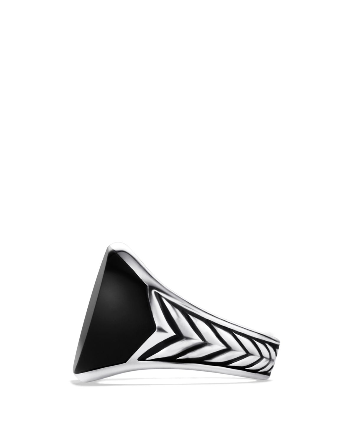 Lyst – David Yurman Chevron Round Signet Ring With Black Onyx In Regarding Best And Newest Chevron Signet Rings (View 6 of 15)