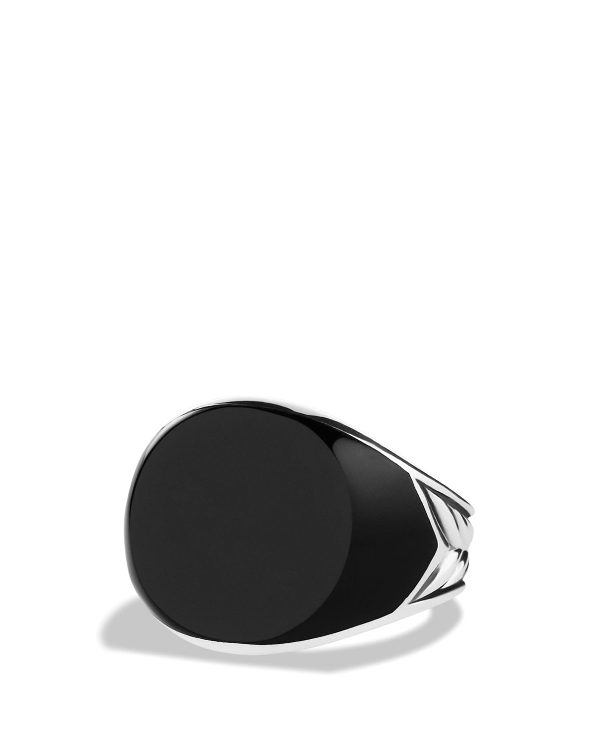 Lyst – David Yurman Chevron Round Signet Ring With Black Onyx In With Regard To Current Chevron Signet Rings (View 7 of 15)