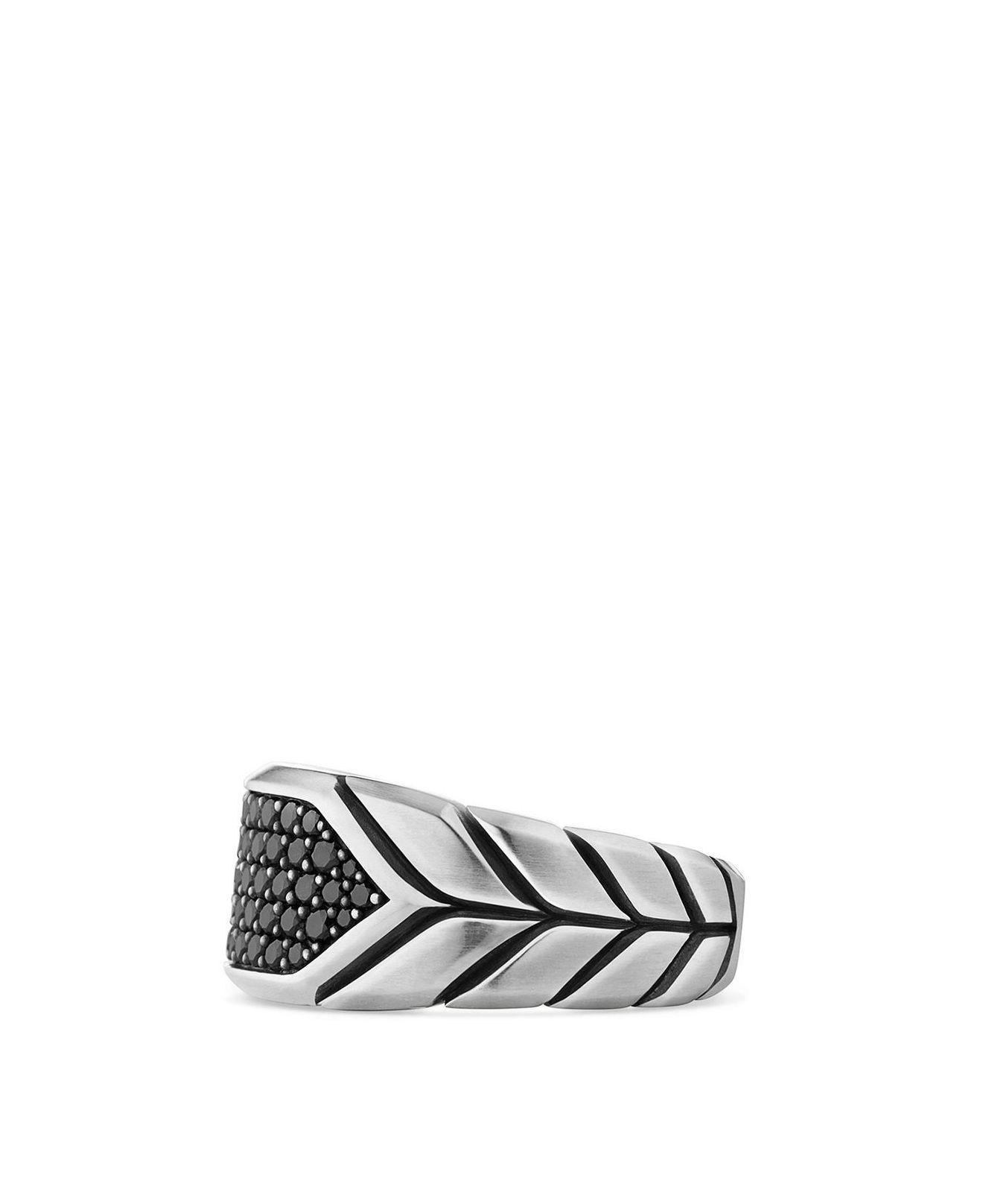 Lyst – David Yurman Chevron Signet Ring With Black Diamonds In With Newest Chevron Signet Rings (View 9 of 15)