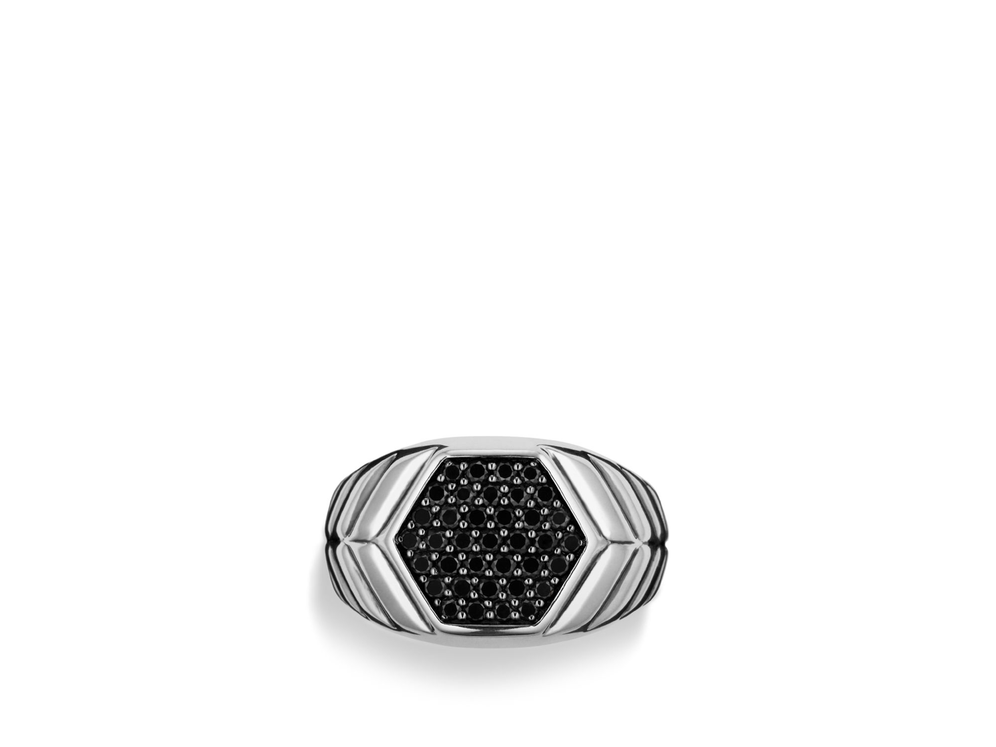 Lyst – David Yurman Modern Chevron Signet Ring With Black Diamonds Regarding 2018 Chevron Signet Rings (View 10 of 15)