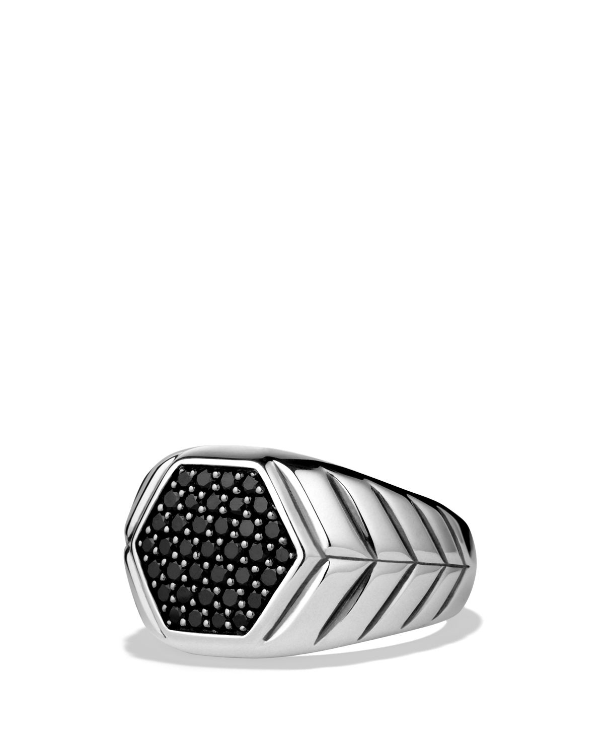 Lyst – David Yurman Modern Chevron Signet Ring With Black Diamonds With Regard To Most Recent Chevron Signet Rings (Gallery 2 of 15)