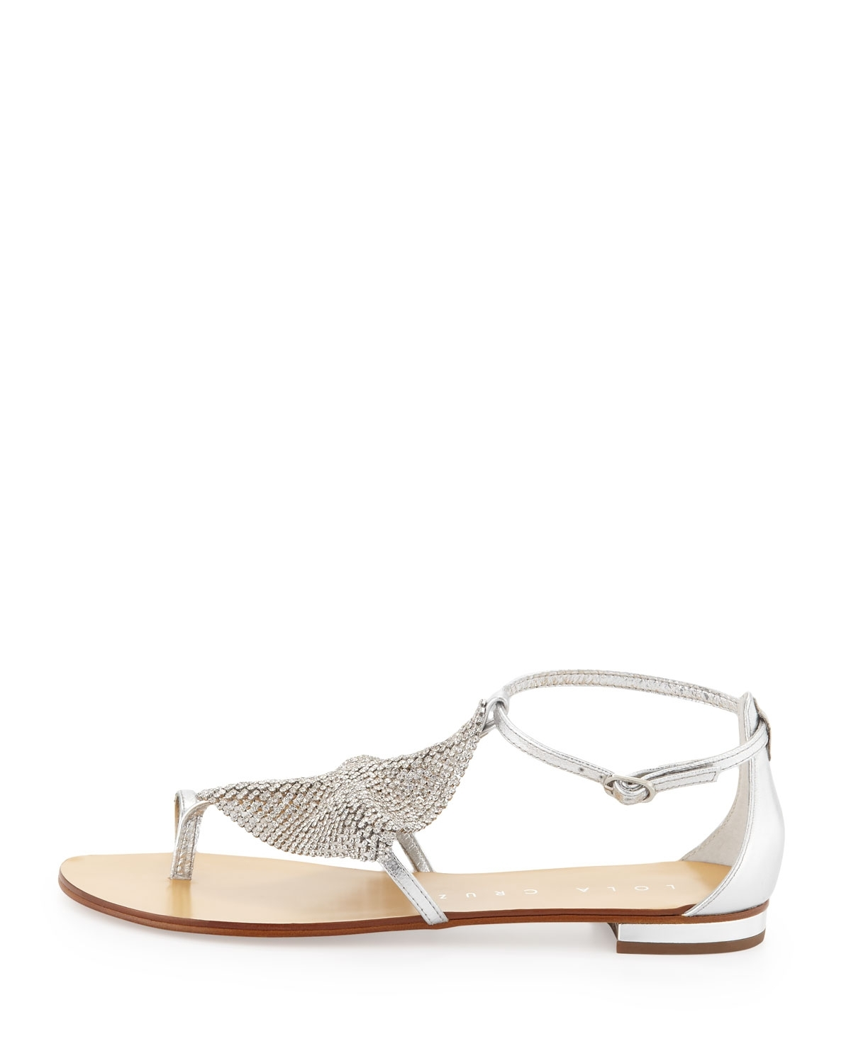 Lyst – Lola Cruz Rhinestone Mesh Toe Ring Sandal In Metallic Pertaining To Current Sandals Rhinestone Toe Rings (View 10 of 15)