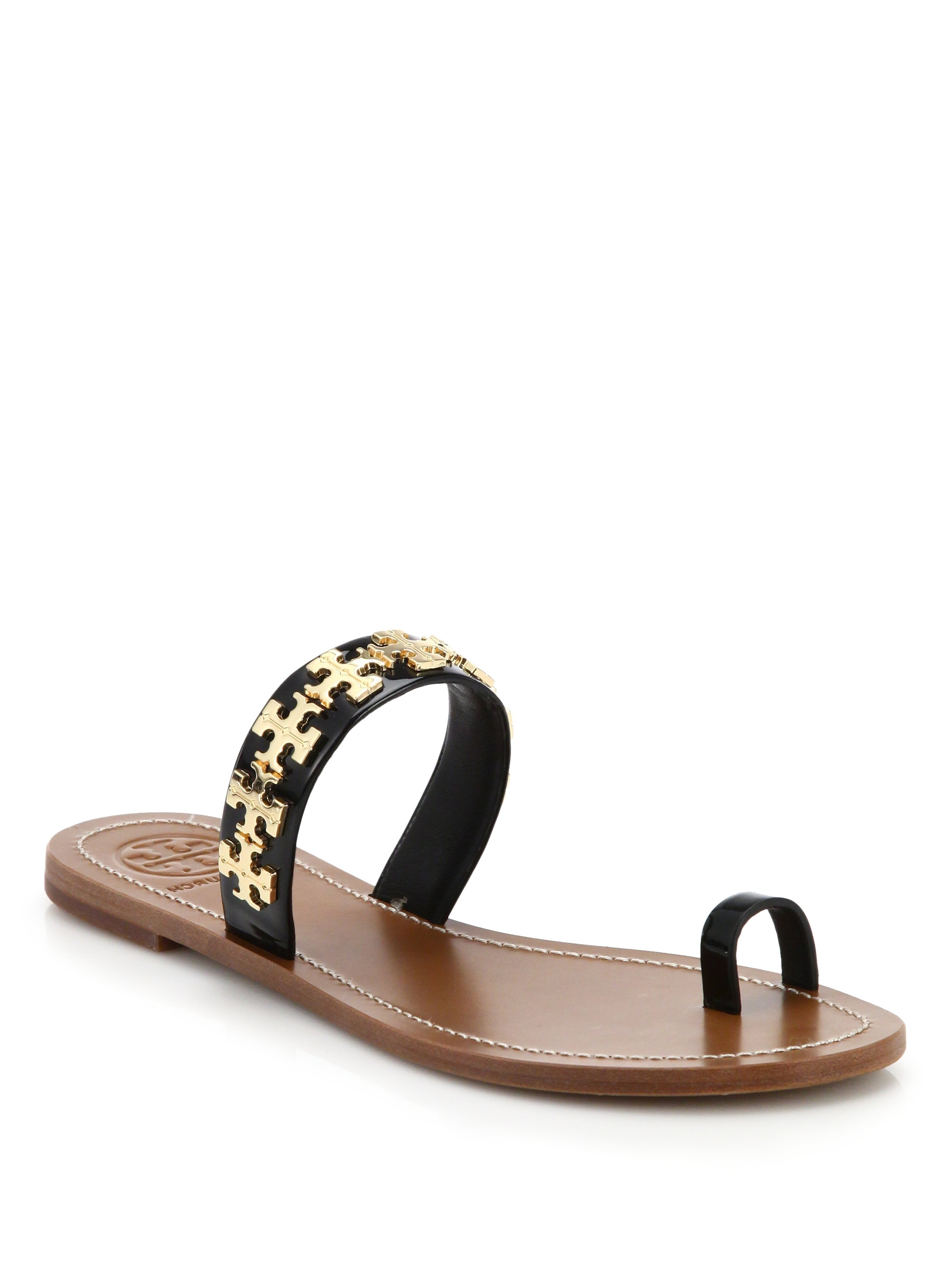 Lyst – Tory Burch Val Metal Logo & Leather Toe Ring Sandals In In Recent Macy's Toe Rings (View 12 of 15)