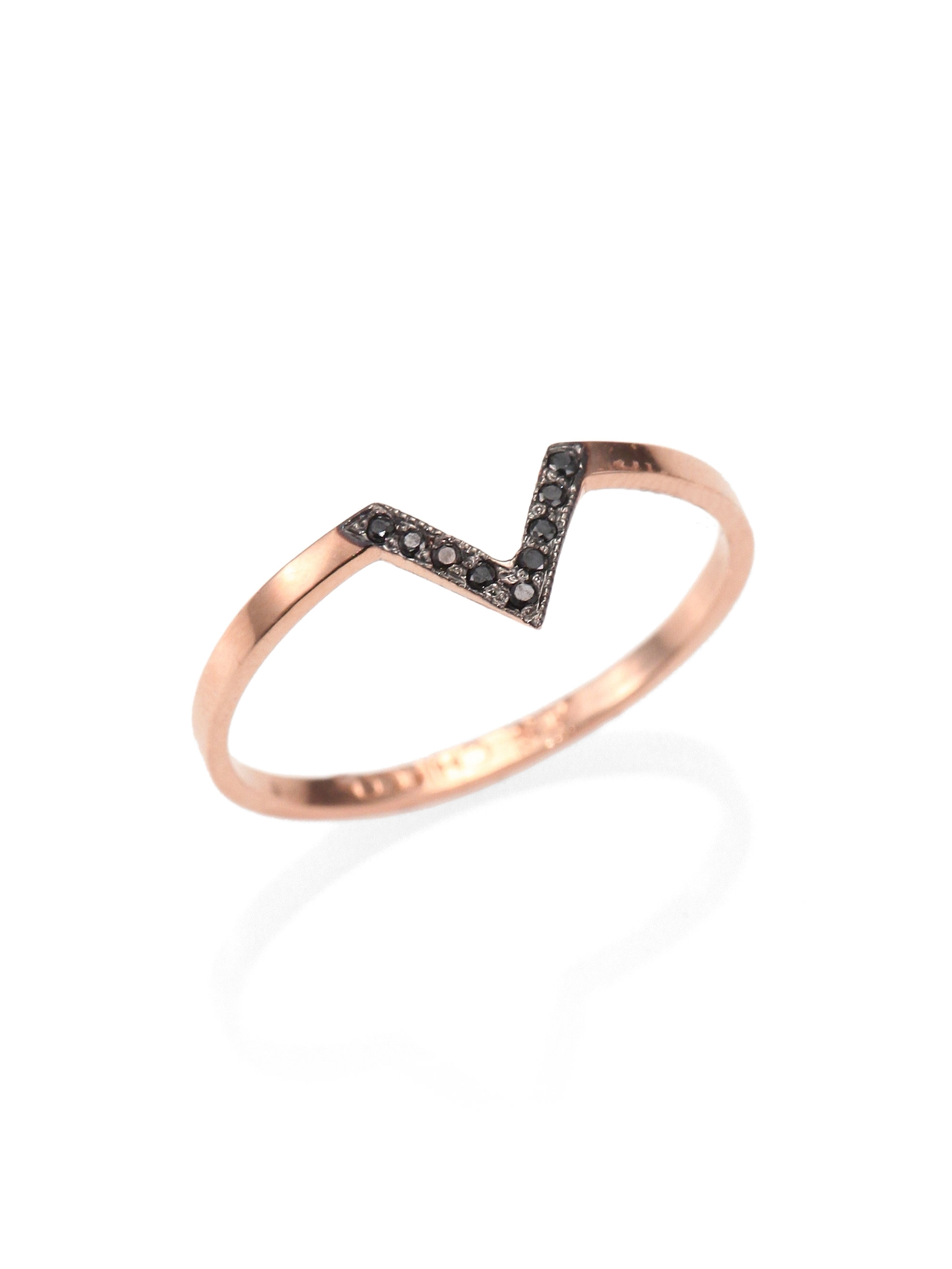 Lyst – Zoe Chicco Diamond & 14K Rose Gold Chevron Ring In Metallic For Best And Newest Diamond Chevron Rings (View 13 of 15)