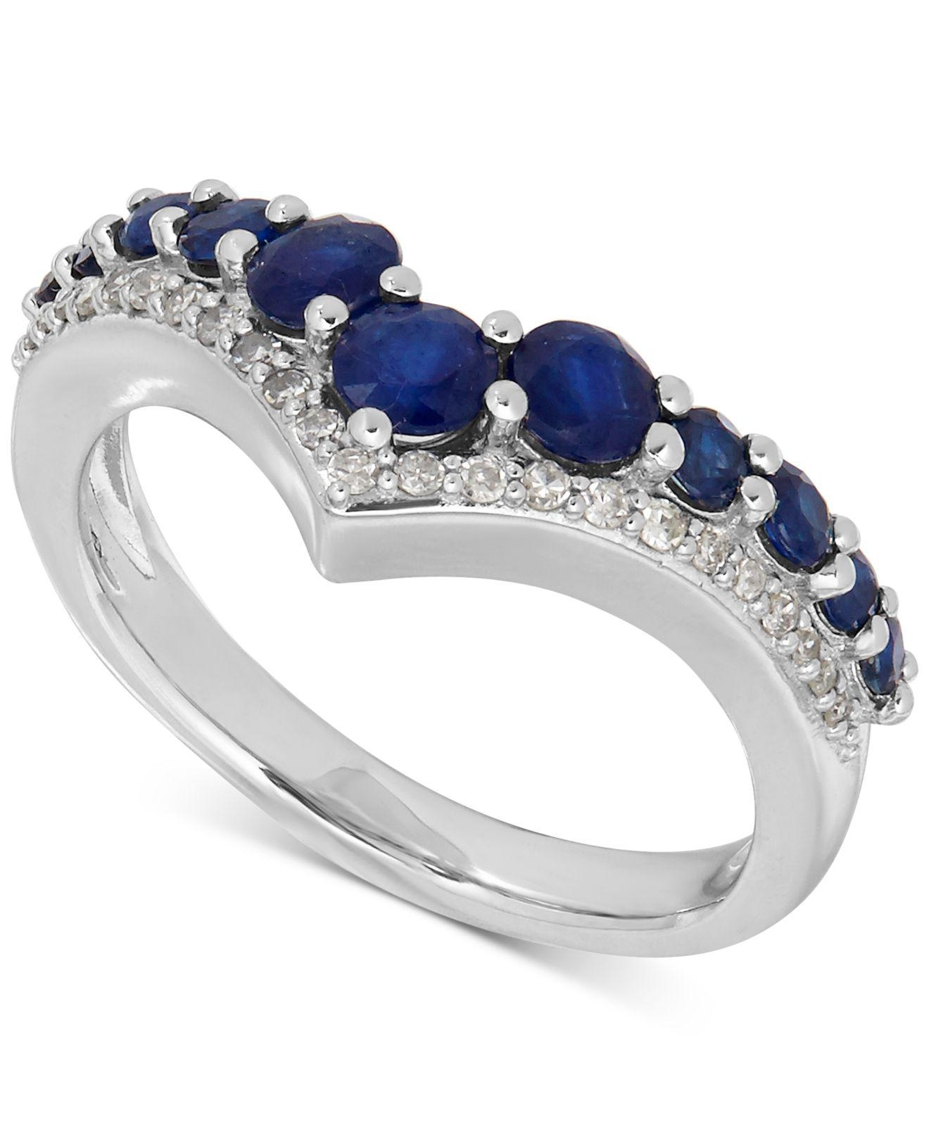 Macy's Sapphire (1 1/3 Ct. T.w.) And Diamond (1/8 Ct. T.w. Intended For Most Popular Chevron Sapphire Rings (Gallery 15 of 15)