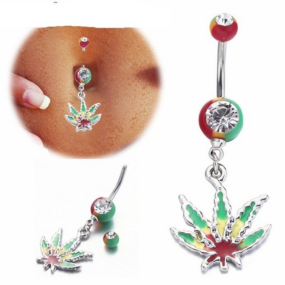 Marijuana Leaf Crystal Dangle Navel Piercing Belly Button Ring 14G Regarding Most Recently Released Chevron Belly Button Rings (View 9 of 15)