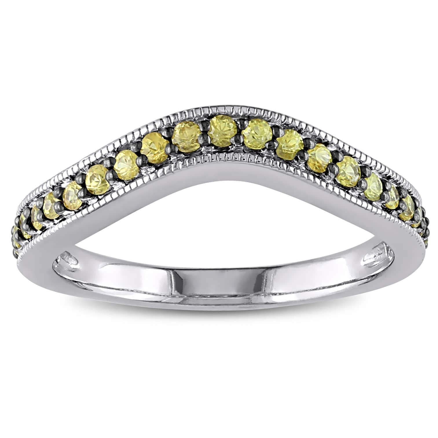 Miadora Yellow Sapphire Chevron Eternity Ring In Sterling Silver Inside Most Up To Date Chevron Eternity Rings (View 8 of 15)