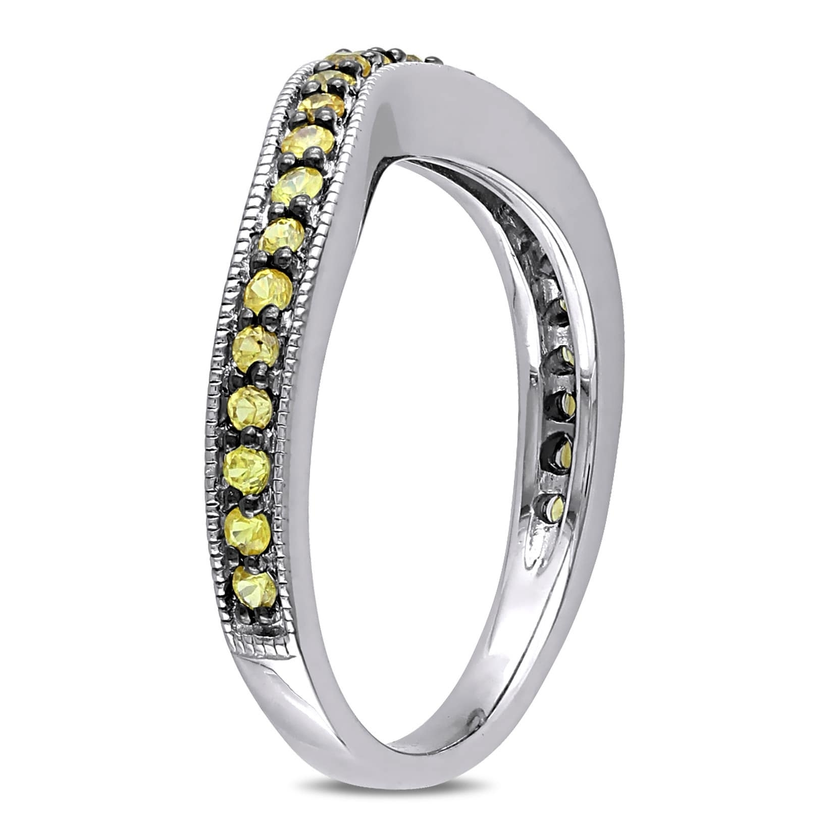 Miadora Yellow Sapphire Chevron Eternity Ring In Sterling Silver Throughout 2018 Chevron Eternity Rings (View 9 of 15)