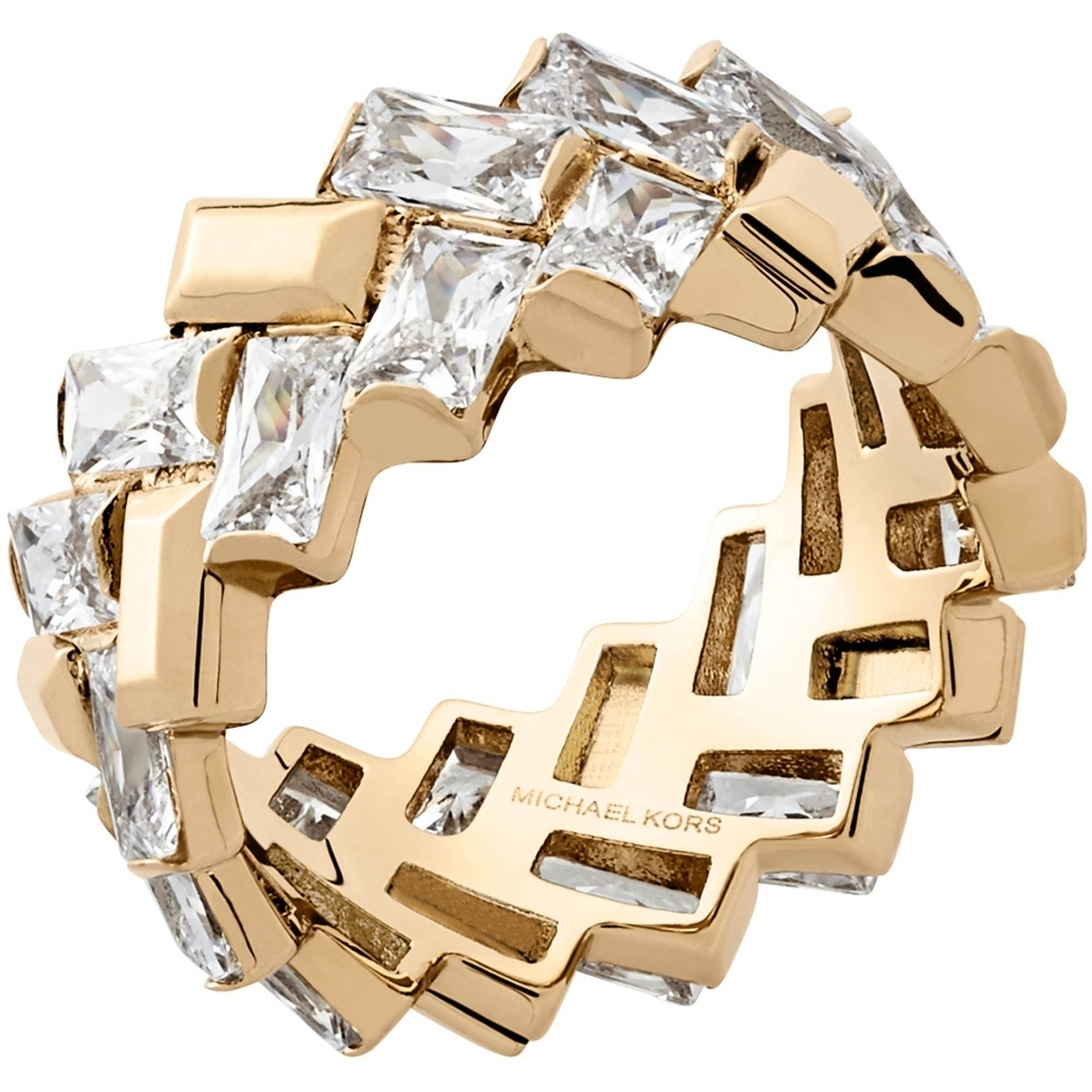 Michael Kors Goldtone Black Tie Affair Ring | Fashion Rings Within Most Recent Chevron Baguette Rings (View 11 of 15)