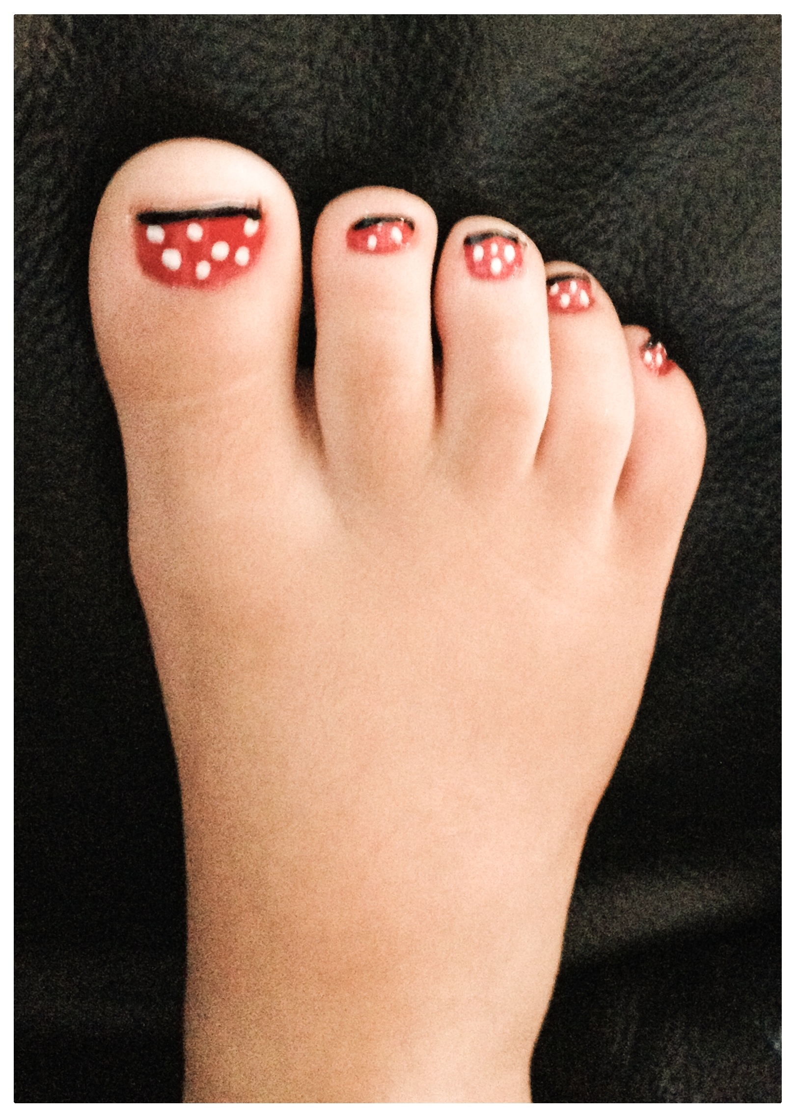 Minnie Mouse Nails (Toes) ▫️paint Nail Red (Dry Completely Inside Most Up To Date Mickey Mouse Toe Rings (View 11 of 15)