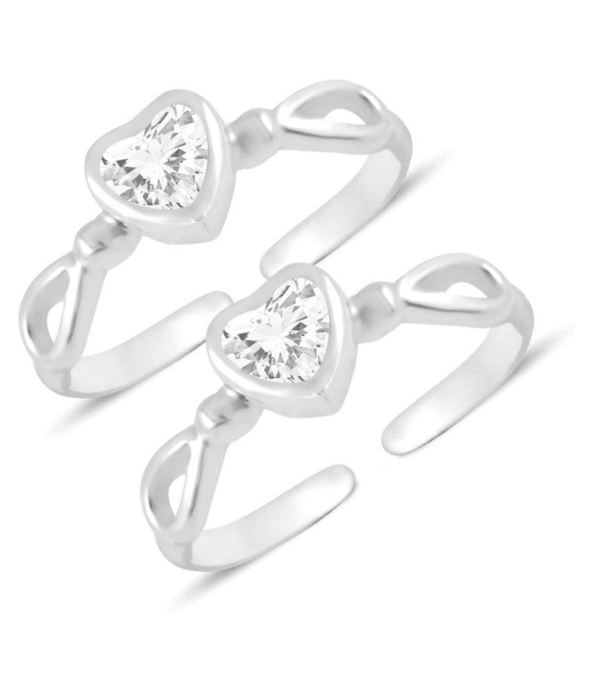 Mj 925 92.5 Silver Heart Toe Rings: Buy Mj 925 92.5 Silver Heart Pertaining To Recent Heart Toe Rings (Gallery 10 of 15)
