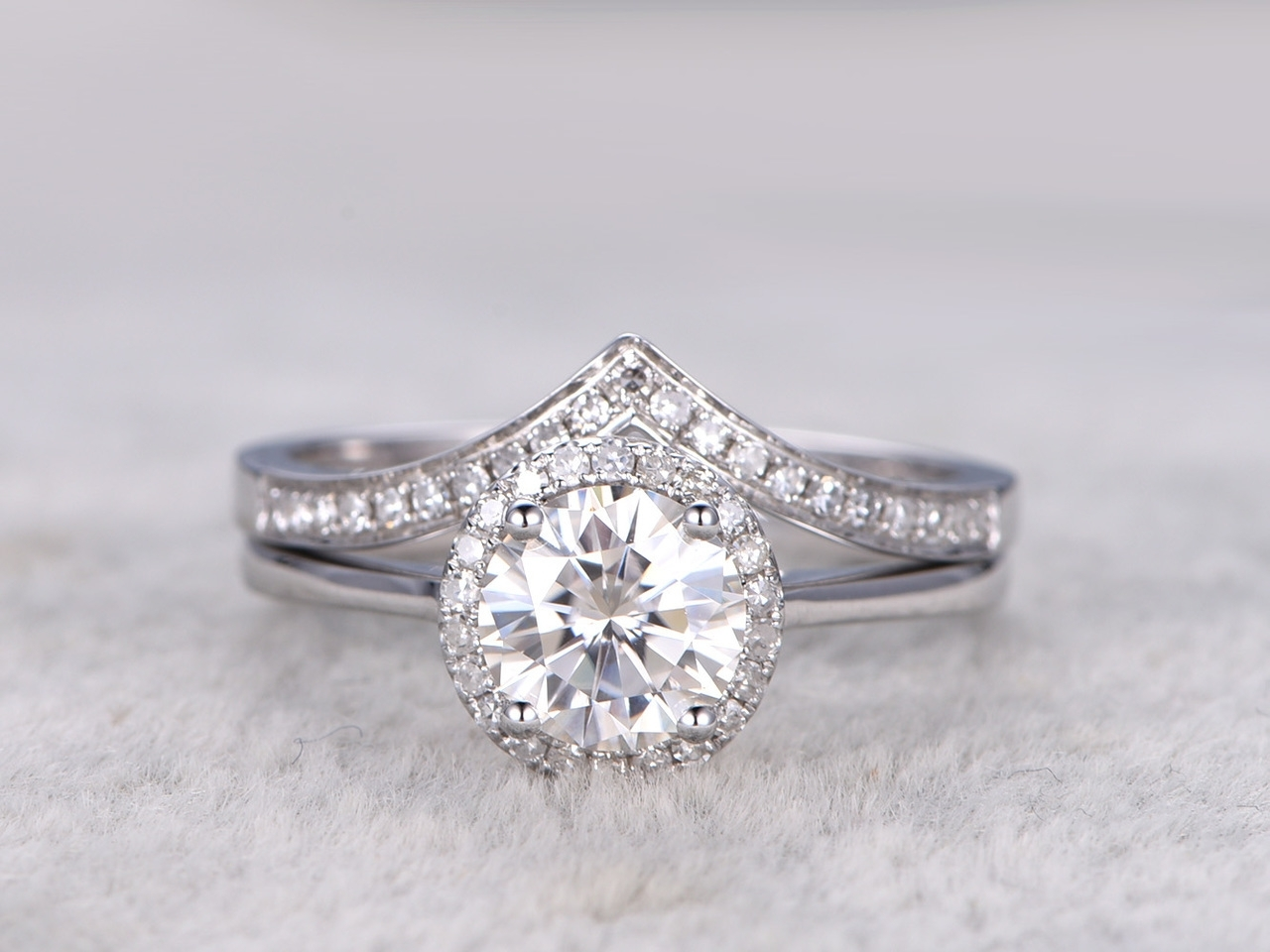 Moissanite Engagement Ring Set Diamond Wedding Bands White Gold With Most Recently Released Chevron Baguette Rings (View 12 of 15)