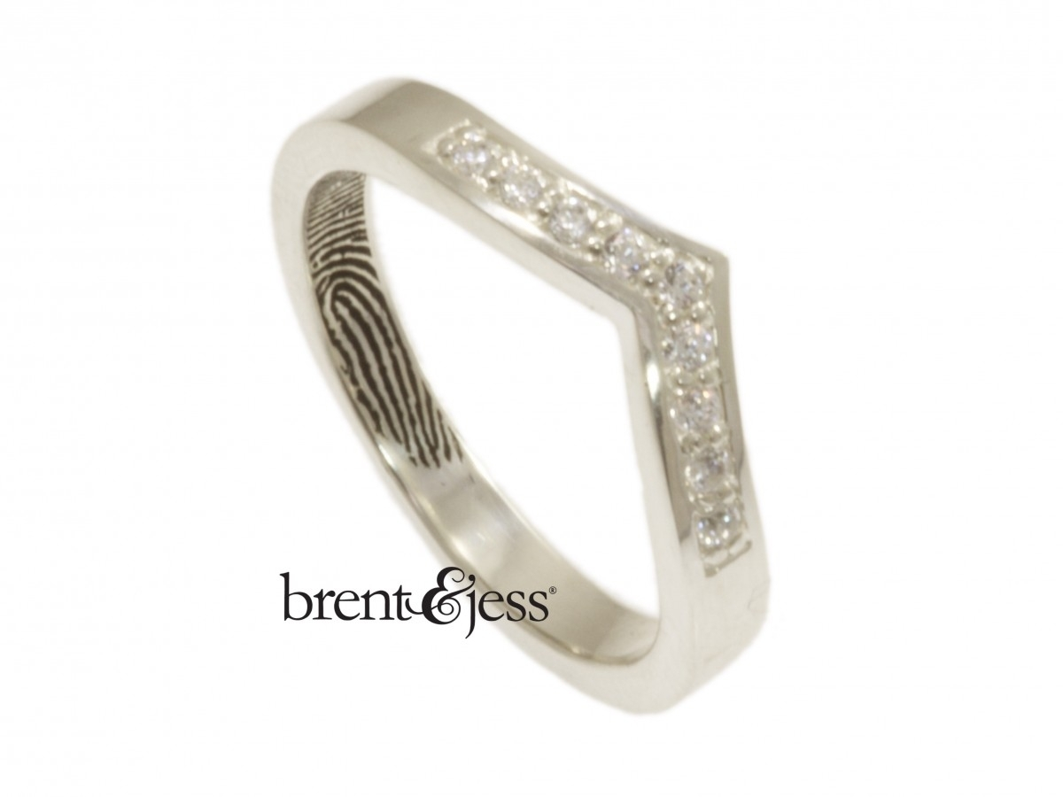 Narrow V Shaped Diamond Fingerprint Wedding Ring With Interior Tip Intended For Most Current Sterling Silver Chevron Rings (View 11 of 15)