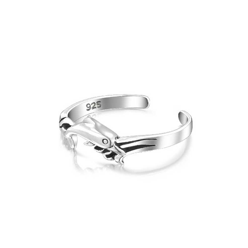 Nautical Dolphin Midi Ring Sterling Silver Toe Rings Adjustable For Most Popular Dolphin Toe Rings (View 11 of 15)