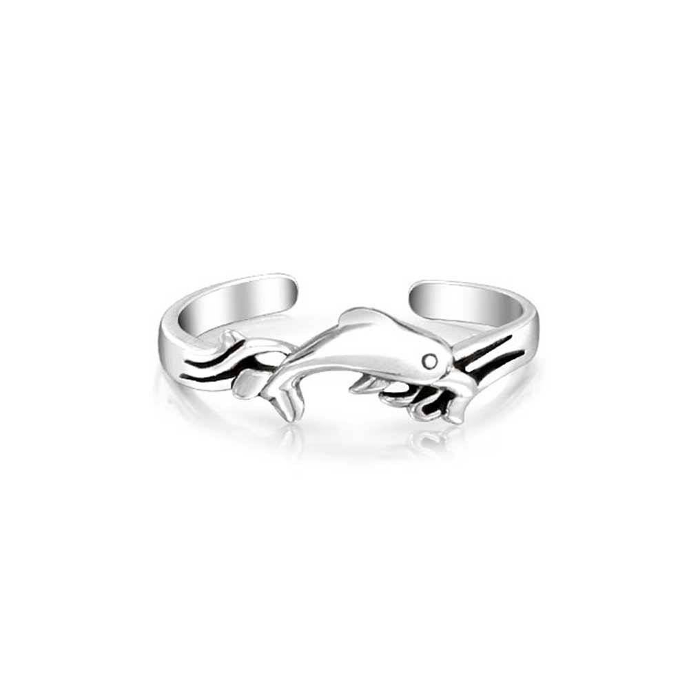 Nautical Dolphin Midi Ring Sterling Silver Toe Rings Adjustable With 2017 Platinum Toe Rings (View 7 of 15)