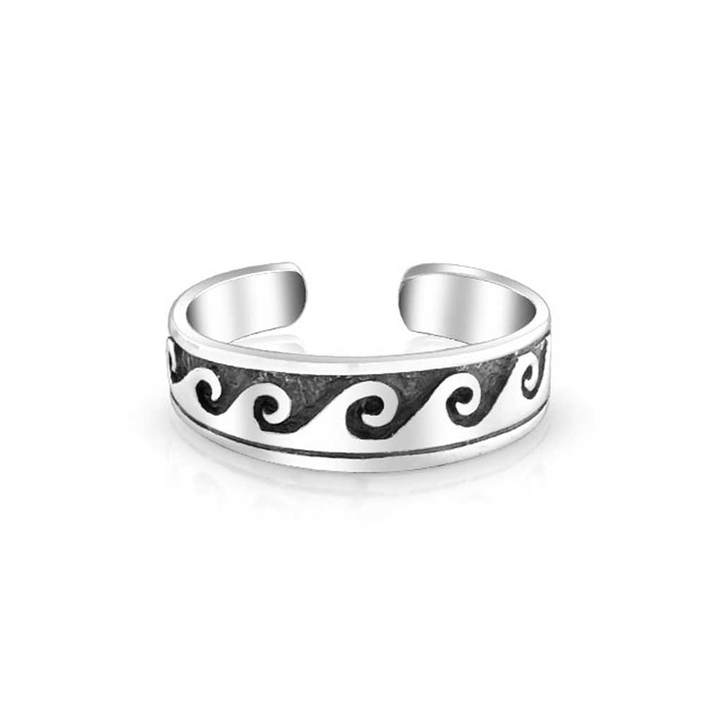 Nautical Ocean Waves Midi Ring 925 Silver Toe Rings Adjustable Pertaining To Most Up To Date Adjustable Toe Rings (View 14 of 25)