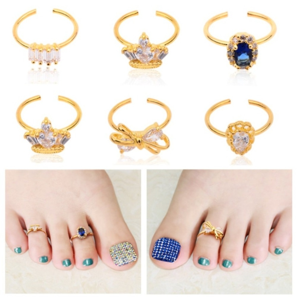New Women Adjustable Nail Toe Gold Alloy Rings Crystal Rhinestone Within Most Current Toe Rings In Gold (View 13 of 15)
