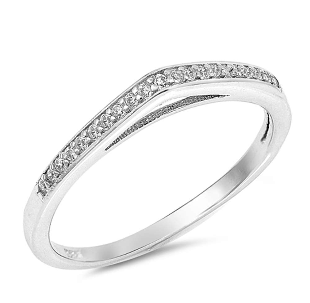 Oxford Diamond Co Chevron Clear Cubic Zirconia Raised Band .925 For Most Recent Silver Chevron Rings (Gallery 10 of 15)