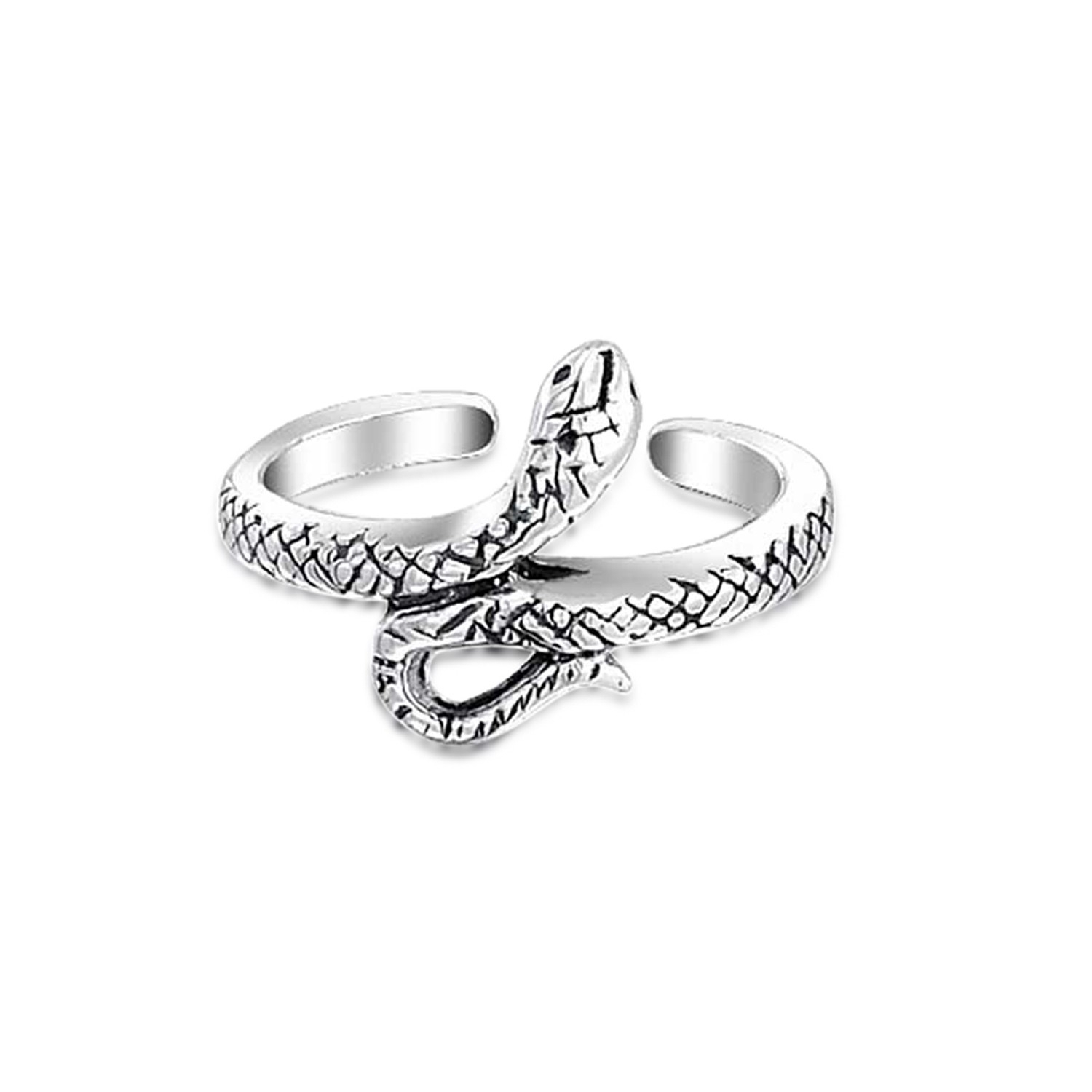 Oxidized 925 Silver Snake Toe Ring Adjustable Midi Rings Intended For Best And Newest Platinum Toe Rings (View 8 of 15)