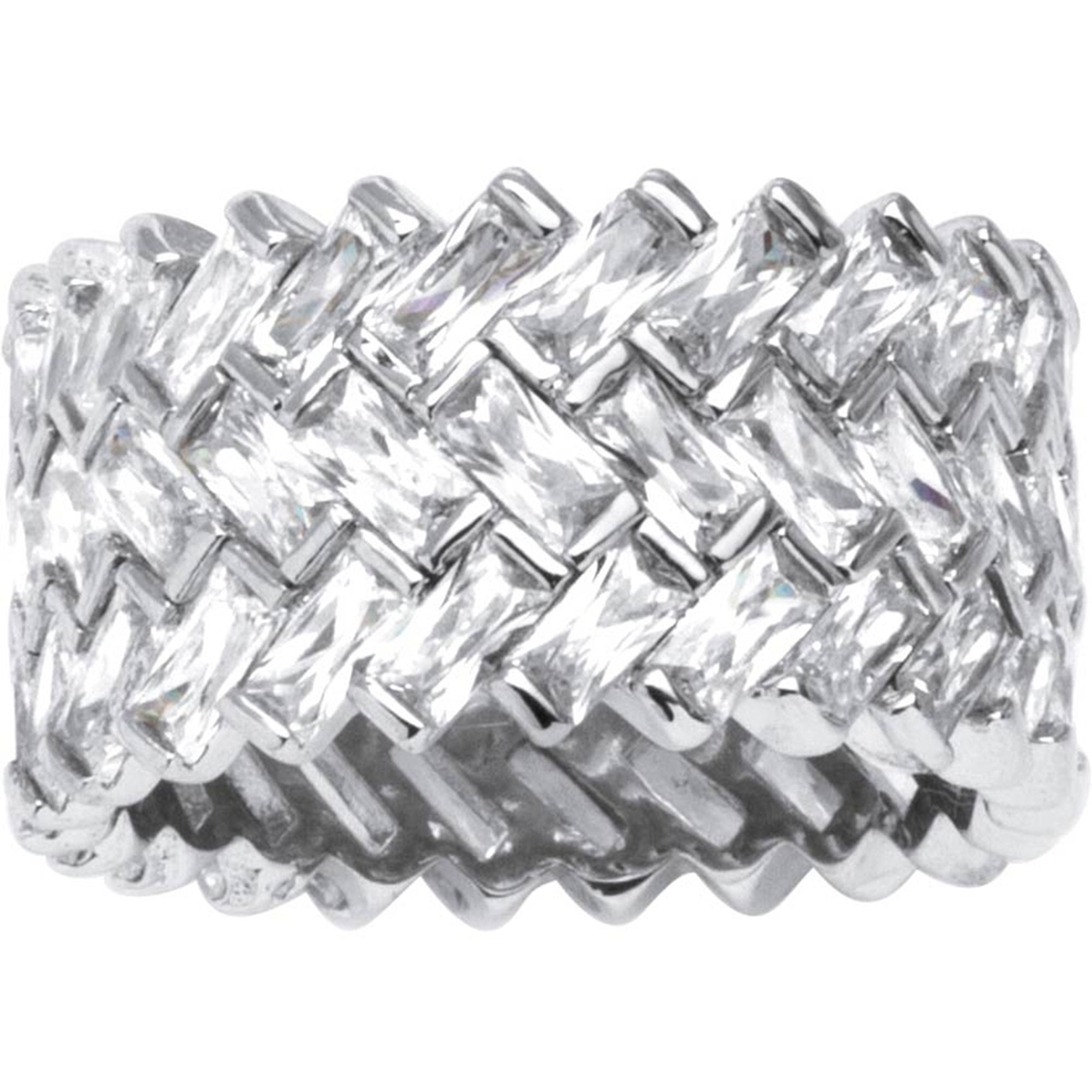 Palmbeach Platinum Over Sterling Silver Cubic Zirconia Chevron In 2017 Chevron Eternity Rings (View 11 of 15)