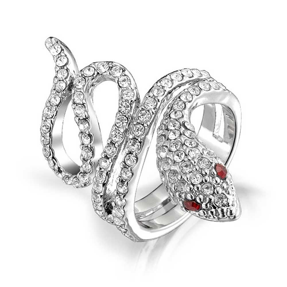 Pave Crystal Twisted Snake Ring Red Garnet Color Eyes For Current Snake Toe Rings (Gallery 4 of 15)