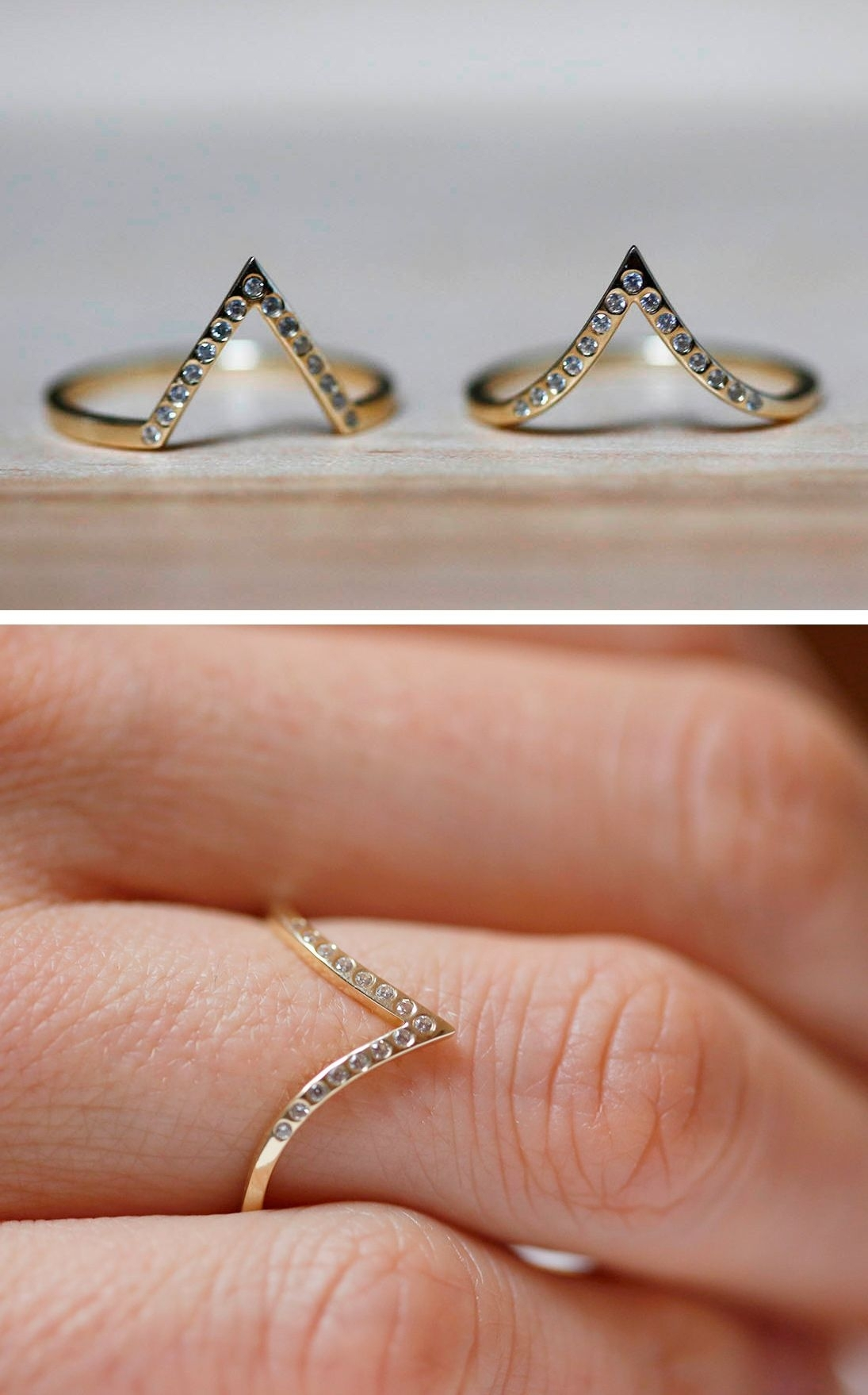 Pave Diamond Ring, V Diamond Band, Thin Diamond Wedding Band With Current Chevron Finger Rings (Gallery 8 of 15)
