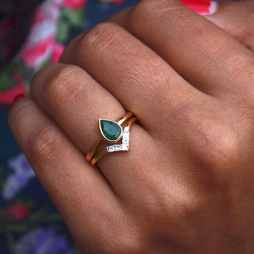 Pear Emerald & Diamonds Engagement Ring | Discovered With Regard To Most Recent Chevron Emerald Rings (View 5 of 15)