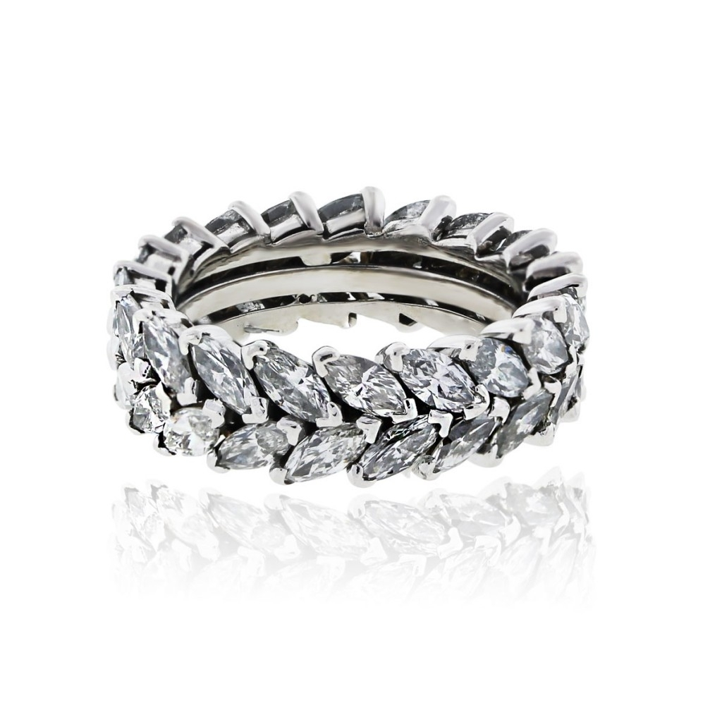 Platinum 6Ctw Double Row Marquise Diamond Eternity Band Ring Within Most Popular Chevron Eternity Rings (View 12 of 15)