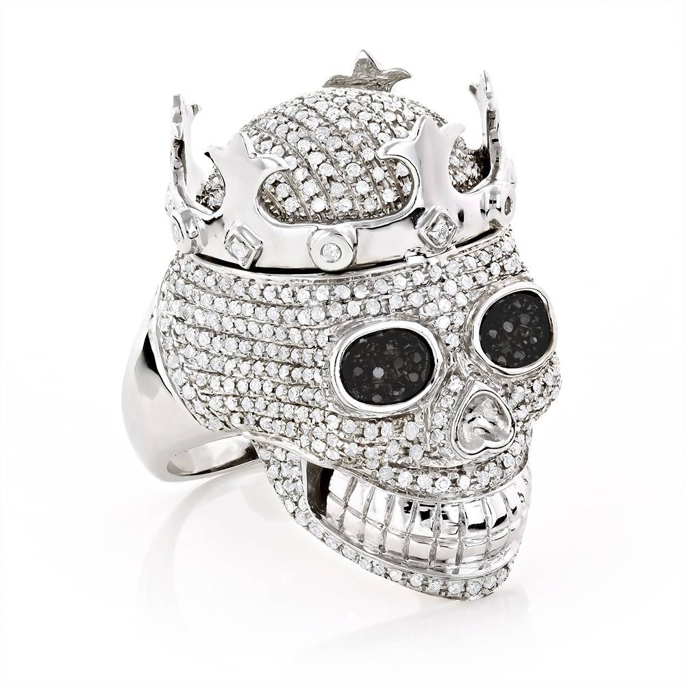 Real Hip Hop Jewelry: Mens Diamond Skull Ring 10k Gold King Crown Inside Current 10k Gold Toe Rings (Gallery 24 of 25)