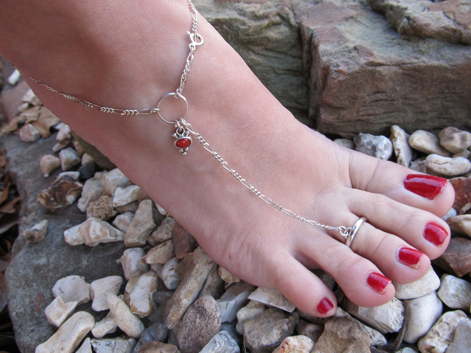 Red Coral Sterling Silver Anklet With Or Without Toe Ring All Throughout Most Up To Date Ankle Bracelet Toe Rings (View 18 of 25)