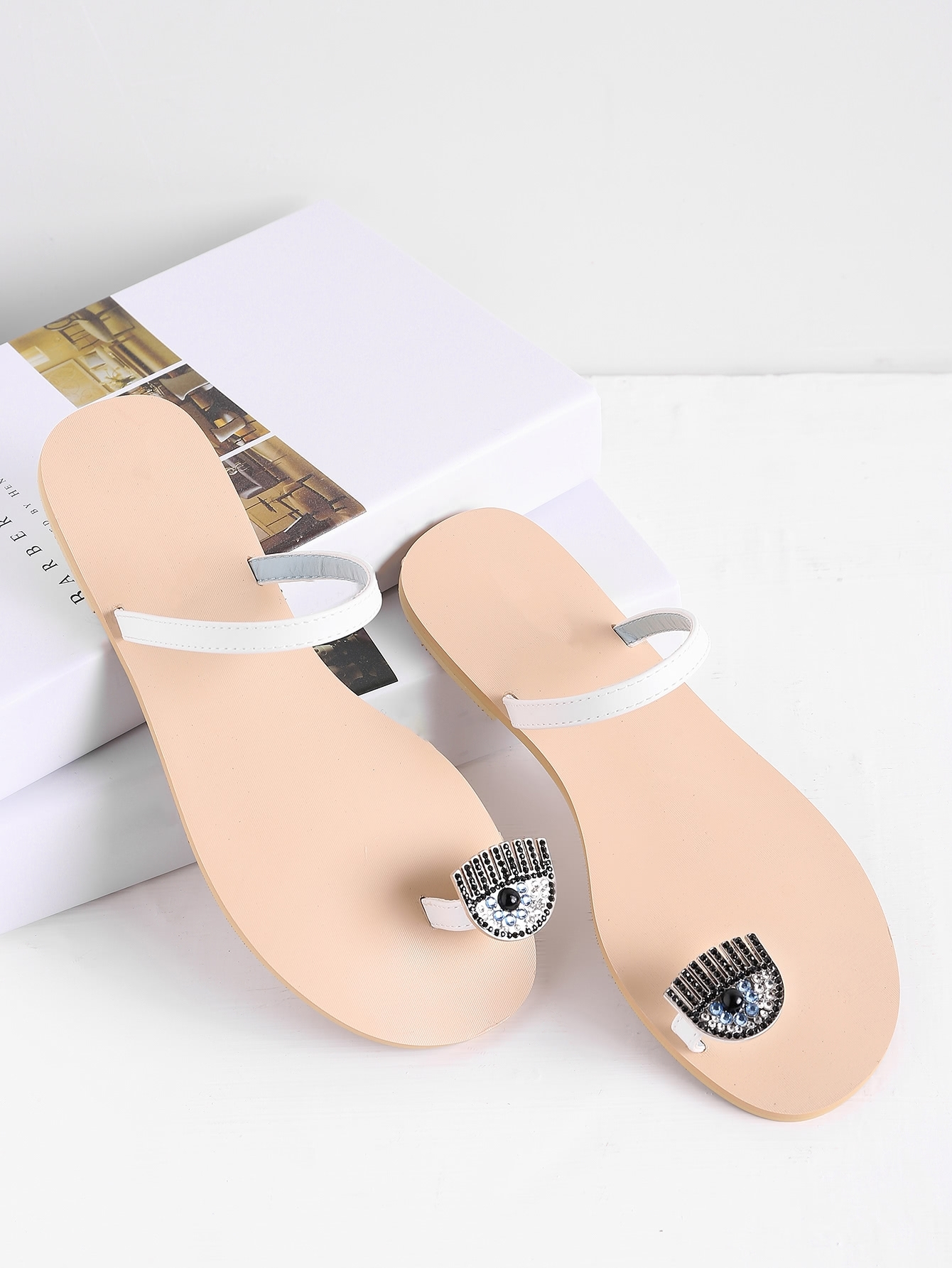 Rhinestone Embellished Toe Ring Flat Sandals  Shein(Sheinside) Regarding Newest Sandals Rhinestone Toe Rings (View 11 of 15)